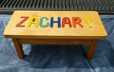 """Zachary Puzzle Foot Step Stool Boys Kids Personalized Name Wooden Bench - 16"""""""