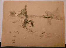 Dessin Original Aquarelle PAUL COUVREUR - Port Marly - vers 1930 - PC231