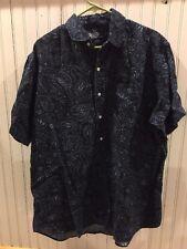 EUC  Ralph Lauren Cambridge Short Sleeve 3/4 Button Front 100% Linen Shirt Large