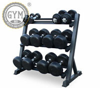 New Pro Gym Wide Heavy Duty 3 Tier Steel Dumbbell Rack Storage Holder Stand
