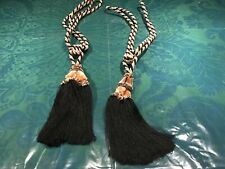 Set of 2 Elegant Black/Gold Tassels Large Upholstery Tieback  Drapery Curtain