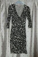 Phase Eight Ladies Cream And Black Leaf Print Cotton Blend Wrap Dress ~ Size 10