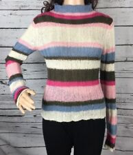 Guess Sweater Medium Acrylic Mohair Wool Blend Striped Pink Blue White Open Knit