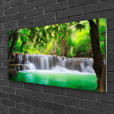 Tulup Print on Glass Wall art 100x50 Picture Image Waterfall Lake Forest Nature