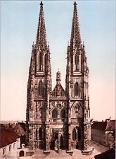 Deutschland, Regensburg. Der Dom. vintage print photochromie, vintage photochr