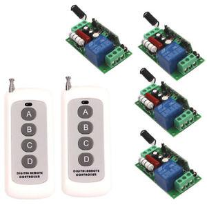 220V 110V 10A 1CH Wireless 2 Remote Control Relay Switch Transceiver+4 Receiver