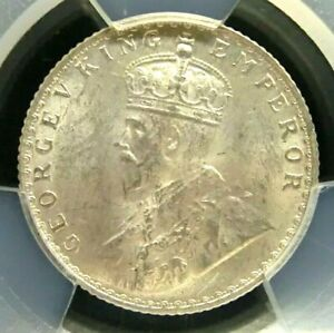 PCGS MS64+ Gold Shield-India/British 1936(B) George V Silver 1/4 R Almost GEMBU