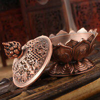 Red Copper Collectable Tibetan Lotus Figure Alloy Incense Burner Censer HU