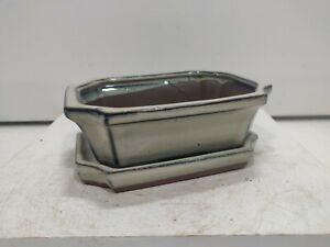 Bonsai 16cm x 11cm Cream glazed ceramic training pot/tray  USED