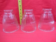 LOT OF 3 CLEAR GLASS RIBBED CEILING FAN LIGHT LAMP FIXTURE SHADE BELL