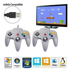 2 Packs Classic Retro N64 Bit USB Wired Controller Gamepad Joystick For PC
