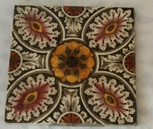 ENGLISH colourful arts and crafts symmetric design ANTIQUE TILE.