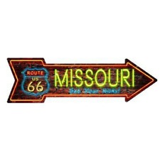 "Outdoor/Indoor Neon Route 66 Missouri Novelty Metal Arrow Sign 5"" x 17"""