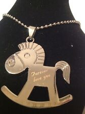 mens or unisex necklace trojans rocking horse. stainless steel.