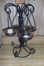 Black 4 arm candle holder candelabra, votive or tealight, glass candle trays, ex