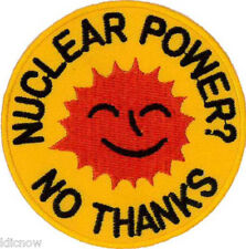 "Nuclear Power - No Thanks Embroidered Patch  7cm Dia (2-3/4"" Dia)"