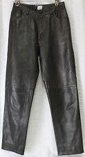 Wathe Black-Brown Leather Pants Woman Sz 6 Soft Flexiable 5 Pockets