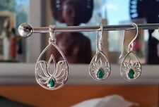 638 Emerald Lotus Solid 925 Sterling Silver pendant/earring set faceted rrp$120