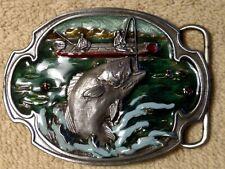 Vintage Pewter Belt Buckle Enamel Bass Fishing Williams Oregon 1984 Siskiyou