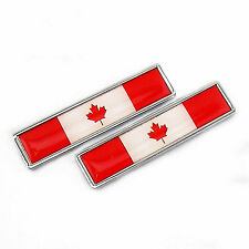 2 x Stainless Metal Flag of Canada Maple leaf Emblem Sticker For Honda Gold Wing