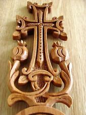 Armenian Hand Made Crafted Wood Carved Christian Ornament Cross Souvenir Gift