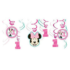 MINNIE MOUSE Fun to Be One HANGING SWIRL DECORATIONS (12) ~First Party Supplies