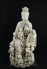 China Dehua artist Blanc de Chine–Kwan-yin children dragon porcelain statue