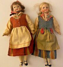 Vintage Antique Polish Composition Dolls Painted Faces Traditional Clothes VV725