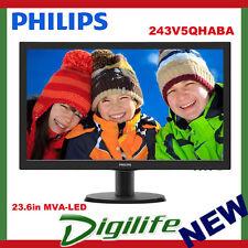 Philips 243V5QHABA 23.6in MVA-LED 16:9 SPK 4ms Full HD 1920x1080 Tilt Stand VESA