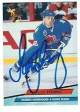 Autographed 1992-93 Fleer Ultra SCOTT YOUNG Nordiques Card #391 w/Show Ticket
