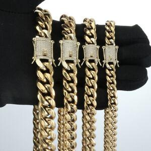 14k Gold Miami Cuban Link Chain Bracelet Stainless Steel Diamond Clasp 8mm-14mm