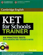 Cambridge KET FOR SCHOOLS TRAINER Six Practice Tests with Answers +Audio CDs NEW