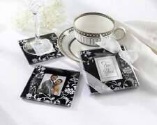 2* Black White Timeless Tradition Wedding Glass Photo Coaster Bomboniere Favors