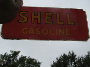 """SHELL gasoline sign for parts Vintage """"SCARCE"""" GLASS 4 1/4 inch x 10 1/4 inch"""