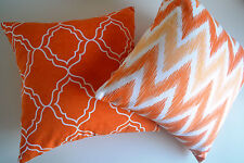 4 x Orange Cushion Covers Geometric Design, IKAT Chevron Bright Throw Pillows