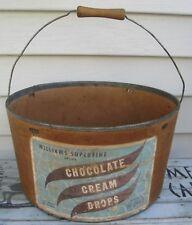 VINTAGE ADVERTISING BUCKET W/HANDLE WILIAMS CHOCOLATE CREAM DROPS OSWEGO NY