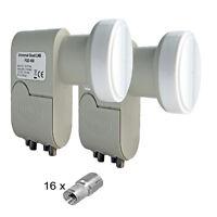 2 Stück Quad LNB LNC 4 Teilnehmer HDTV 0,1dB HD 3D STROMSPAREND nur 160mA Strom