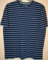 MENS M&S PURE COTTON LAUNDERED CREW NECK STRIPED T SHIRT SIZE MEDIUM NAVY MIX