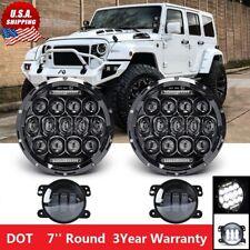 7 Round LED Headlight 4'' Fog Light For Wrangler Unlimited Sport JK JL TJ Black