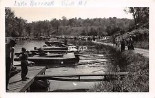 C80/ Glouster Burr Oak Lake Ohio Postcard Real Photo RPPC c50s Dock #1 Crowd