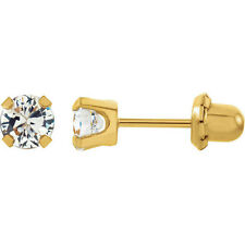 14K Yellow Gold Cubic Zirconia Inverness Piercing Earrings 2mm 3mm or 5mm