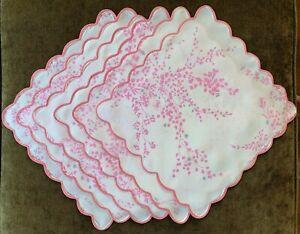 Vintage D. PORTHAULT 6 Napkins Flax Linen Pink Flowers Jete De Fleurs Pattern