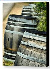 Wine Barrels Foxen Winery Abstract by Barbara Snyder Wine Art Canvas 24x32