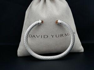 David Yurman 5mm Cable Classics Bracelet with Citrine and Diamonds size M