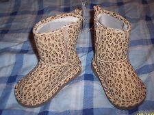 NWT BABY GAP GIRL'S LEOPARD SHERPA LINED BOOTS Sz 6 100%