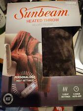 Sunbeam Velvet Plush Electric Heated Throw Blanket Walnut Brown