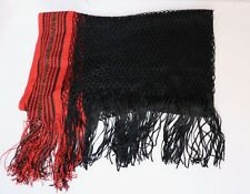 Women's Vintage Gucci Red and Black Gypsy Larrge Lame Fringe Scarf NEW