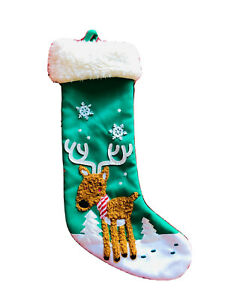 19 In Reindeer Snowflake Green White Christmas Stocking