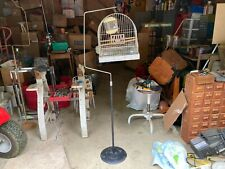 Vintage Hendryx Metal Bird Cage & Cast Iron Stand