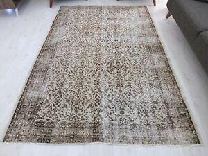 Turkish Area Oushak Wool Handmade Rug 6x8, Unique Vintage Salon Floral Old Rug